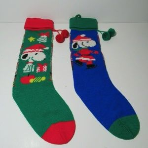 Two Peanuts Snoopy Christmas Stockings Knit Ice Sk